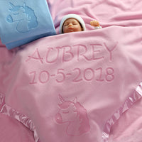 Custom Catch Personalized Unicorn Baby Blanket - Gift for Girl - Newborn or Infant - Pink or Blue (1 Line of Text)