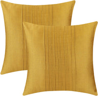 The White Petals Set of 2 Mustard Yellow Lumbar Pillow Cover with Pin Tucks Panel (12X16 inches, Mustard Yellow)