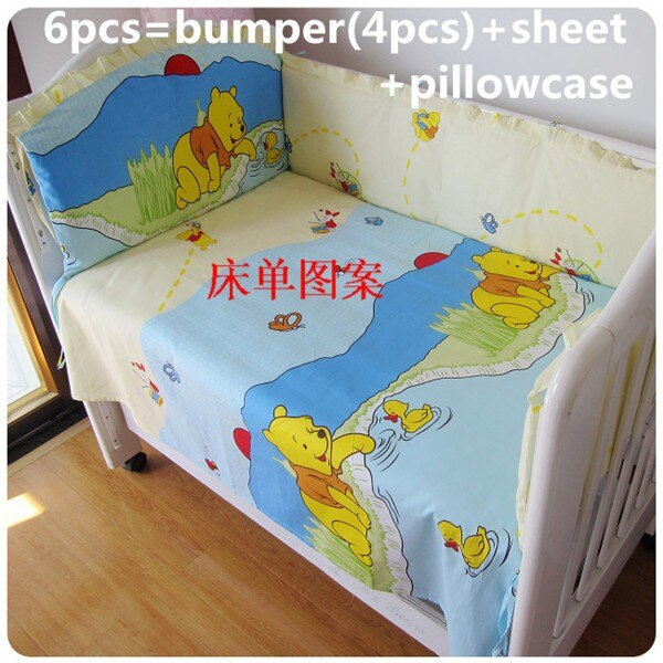 Promotion! 6PCS bedding for girls,100% cotton crib bedding sets baby bed crib(bumpers+sheet+pillow cover)
