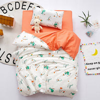 3Pcs Baby Bedding Set 100% Cotton Crib Bed Linen Kit Cartoon Animal Includes Pillowcase Bed Sheet Duvet Cover Without Filler