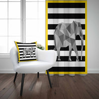 Else Yellow Frame Black Stripe Lines Gray Elephant 3d Kids Print Baby Children Window Panel Set Curtain Combine Gift Pillow Case
