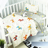 Kidlove 3Pcs 100% Cotton Crib Bed Linen Kit Cartoon Pattern Baby Bedding Set Without Filler