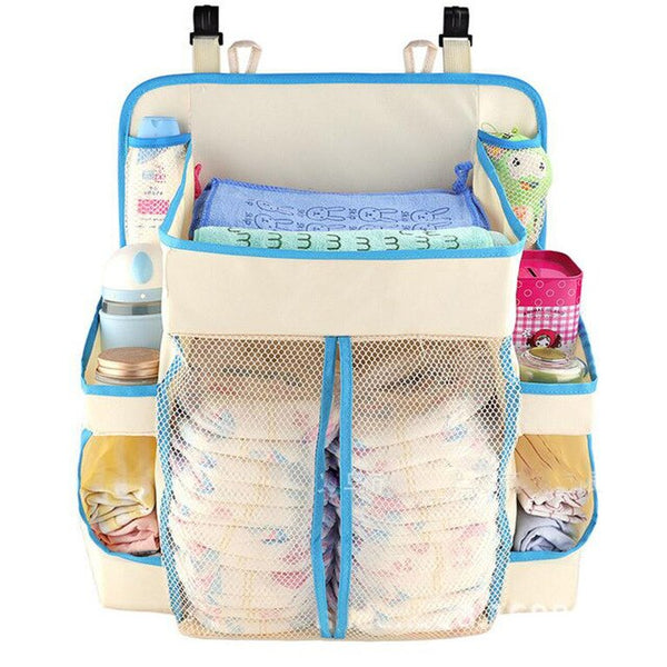 Portable Baby Bed Bumper Hanging Storage Bag Nappy Bag Bedside Organizer Infant Crib Bedding Set Waterproof Toy Diapers Pocket