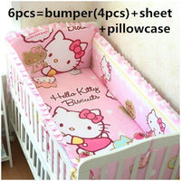 6pcs Cartoon baby bedding set Crib Bed Linen baby bed cuna crib bumper  ,include (bumpers+sheet+pillow cover)