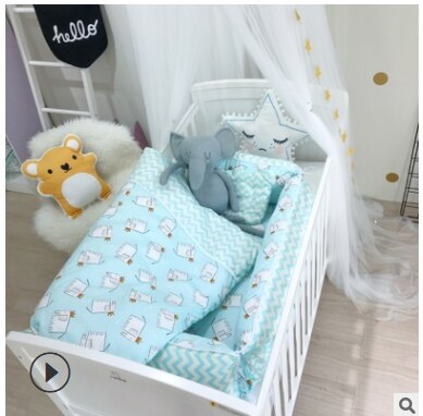 Newborn Baby Bedding Set 3Pcs/Set Baby Cot Bumpers Baby Blankets Newborn Baby Pillow 100% Cotton Cartoon Infant Baby Bed Bumper