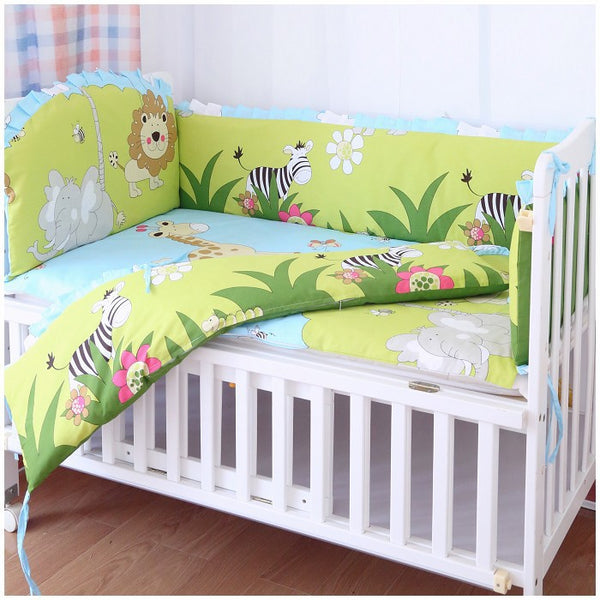 Promotion! 6PCS Baby cot Bedding Set 100% Cotton Crib Sheet Baby Bed Set (bumpers+sheet+pillow cover)