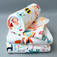 Baby Cotton Blanket Wrapped Towel Blankets Cute Cartoon Pattern Warm Swaddling 110*94cm