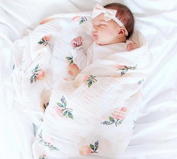 INS Hot Baby Blanket NewbornSwaddle 120x120cm Super Soft Breathable Multi-Use Muslin Cotton Wrap  Lemon Cactus  Baby Blankets