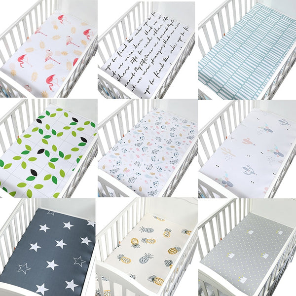 100% Cotton Crib Fitted Sheet Soft Breathable Baby Bed Mattress Cover Potector Cartoon Newborn Bedding For Cot Size 130*70cm
