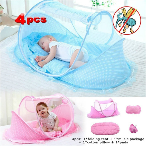 0-3 Years Baby Bedding Crib Folding Tent Pillow Mattress And Music Pack 4 Pcs Toddler Bedroom Travel Bed Kids Baby Bed Outdoor
