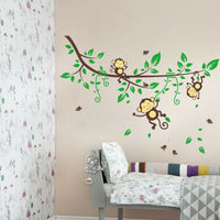 Jungle 3 Monkeys Tree Wall Sticker Vinyl Decal Kid Nursery Baby Decoration Decal