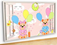 J079 Nursery Baby Bears Balloons Canvas Picture Poster Wall Art 3D Stickers Room