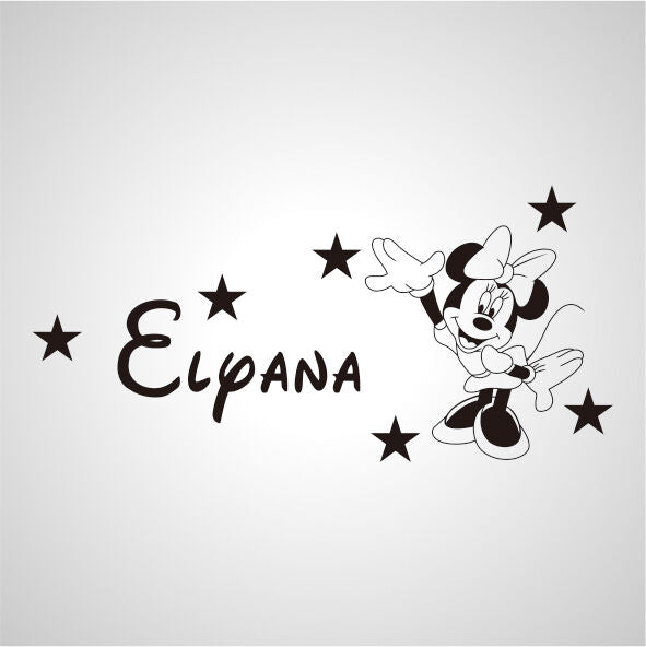 Wall Stickers custom baby name Minnie mouse star vinyl decal decor Nursery kids