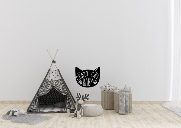 Crazy Cat Baby Inspired Design Funny Home Decor Wall Art Decal Vinyl Sticker