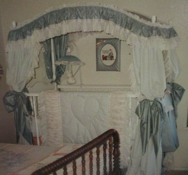 10pcCustom Made Baby Nursery Crib Bedding Set:Bumpers,Dust Ruffle,Canopy,Diaper