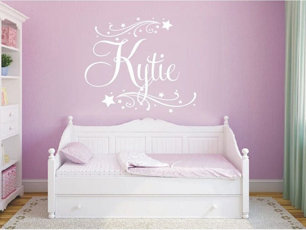 Wall Stickers custom baby name colour I swirls vinyl decal decor Nursery kids