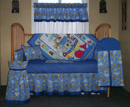 10 PC. NOAH'S ARK BABY NURSERY CRIB SET WITH BLUE ACCENT TRIM