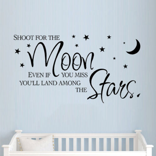 ** Shoot for the moon ** wall sticker quote childrens nursery bedroom kids art