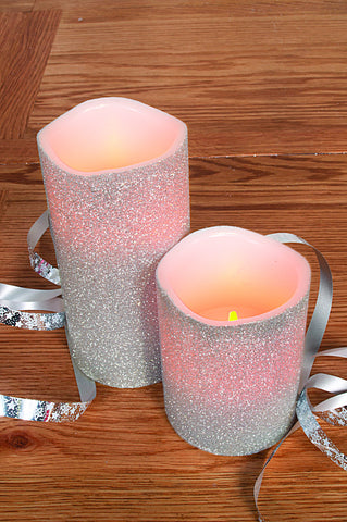 Flame Homeware Silver LED Candle with Glitter