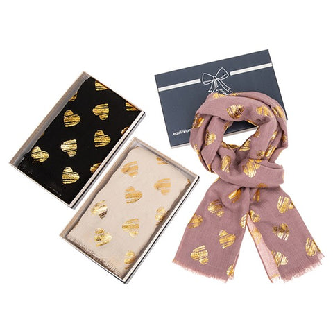 Gold Metallic Hearts Box Scarf