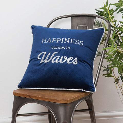 Happiness comes In Waves Velvet Cushion Navy Blue