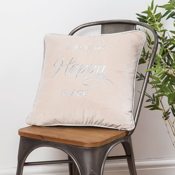 This Is My Happy Place Velvet Cushion Beige