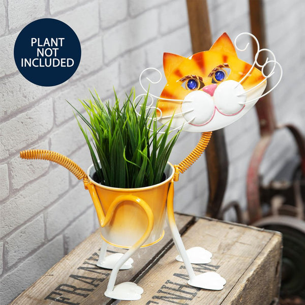 Handmade Metal Tom Cat Planter