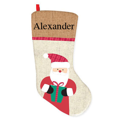 Xmas Creation Express Hessian Stocking F Santa