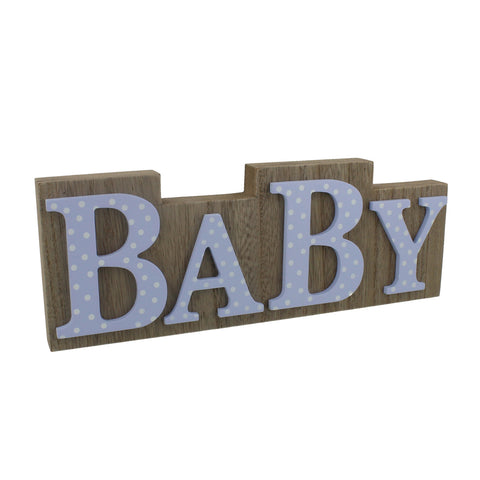 "'Petit Cheri' MDF Plaque Wood & Blue Polka Lettering ""Baby"""