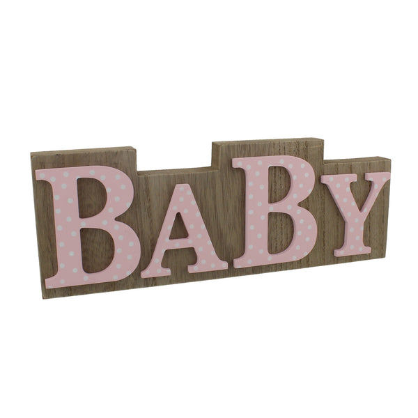 "'Petit Cheri' MDF Plaque Wood & Pink Polka Lettering ""Baby"""