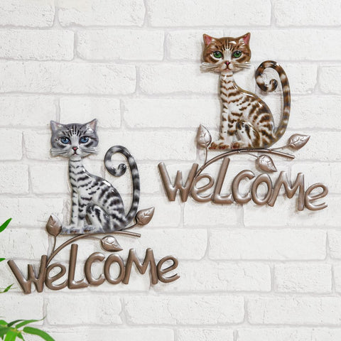 Metal Welcome Sign Cat