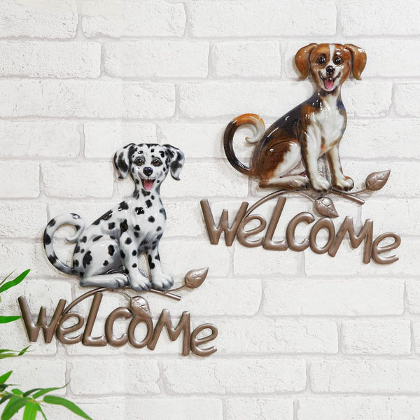 Metal Welcome Sign Dog