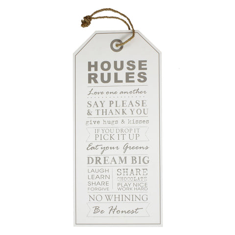 Salvage MDF Hanging Wall Plaque - House Rules