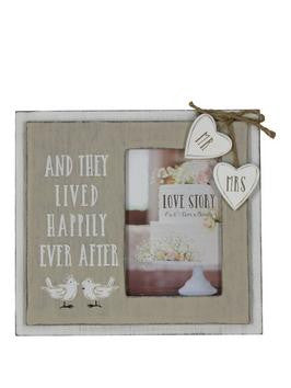 "Love Story Wooden Frame ""Happily Ever After"" 4""x6"""