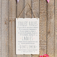 Love Life Rectangle Plaque - Toilet Rules