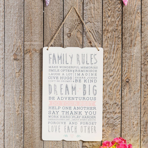 Love Life Rectangle Plaque - Family Rules