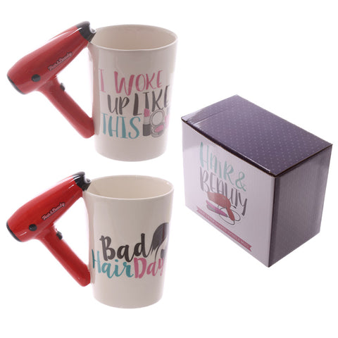 Ceramic Shaped Handle Mug- Hair Drier With Slogan