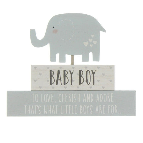 'Petit Cheri' MDF Stacked Blocks - Baby Boy