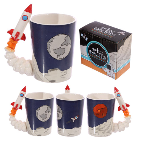 Space Rocket Shaped Handle Mug With Plant Surface Decal