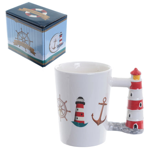 Ceramic Shaped Handle Mug - Seaside Lighthouse