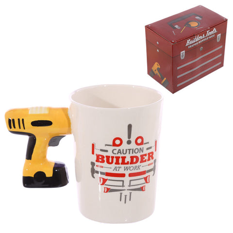 Electric Drill Shaped Handle Ceramic Builders Mug