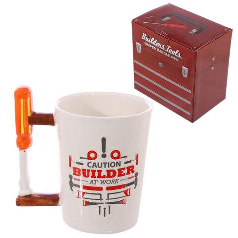 Screw Driver Shaped Handle Ceramic Builders Mug