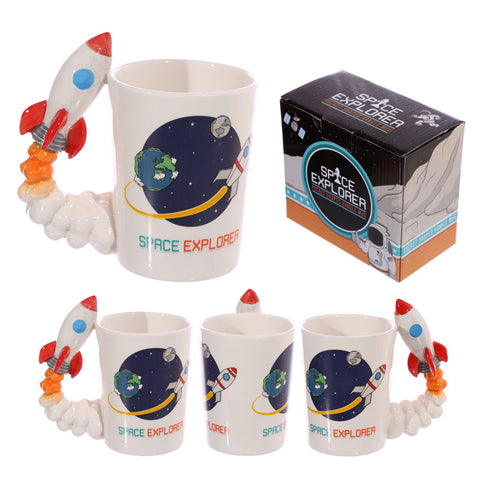 Space Rocket Shaped Handle Mug With Space Explorer Decal