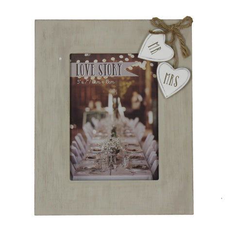 "Love Story Wooden Frame with Hearts ""Mr & Mrs"" 5""x7"""