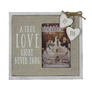 "Love Story Wooden Frame ""True Love Story"" 4""x6"""