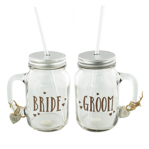 Love Story Mason Jar Drinking Glasses Set 2 'Bride & Groom'