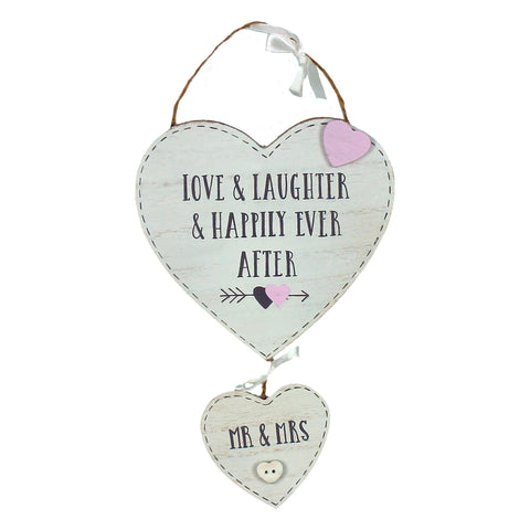 Love Story Hanging Double Hearts - Mr & Mrs