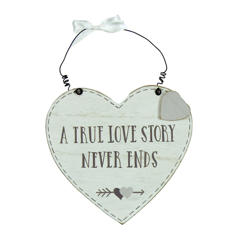 Love Story MDF Heart Plaque - A True Love Story