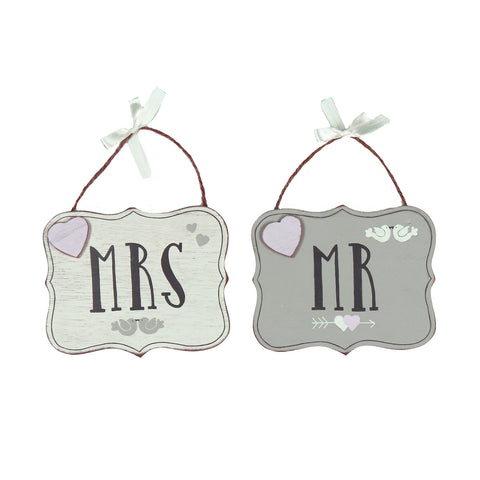 Love Story Set of 2 Hanging Plaques - Mr & Mrs