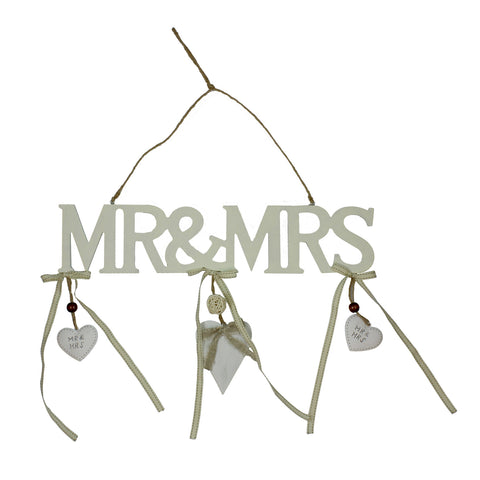 "Love Story Hanging Plaque Cutout Letters ""Mr & Mrs"""